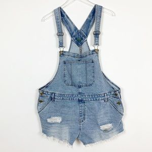 Wild Fable Blue Jean Distressed Short Overalls 1X